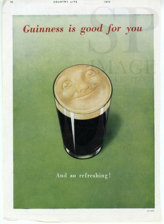 1944 VINTAGE GUINNESS ADVERT Guinness is Good for You SMILEY HEAD Print GE1187a
